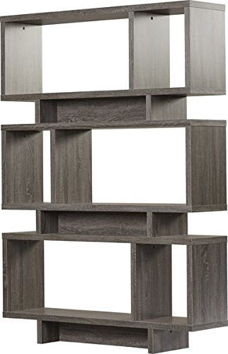 ookcase in Weathered Grey Finish Freestanding Shelf Material is Wood Little Assembly Required (Abstract Bookcase)