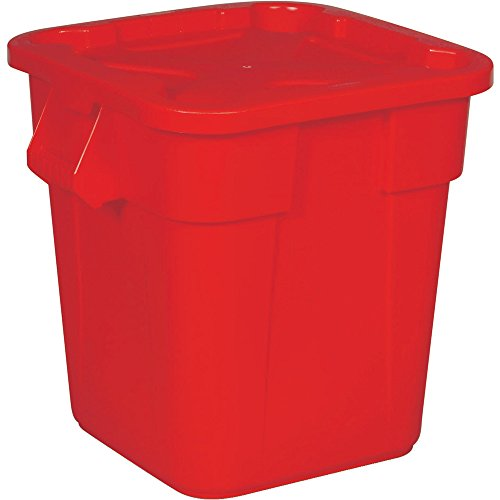 Rubbermaid Commercial FG351700RED Brute Rectangular Trash Can and Snap-Lock Lid Combo Pack, 28-gallon, Red (Wastebasket Square Rectangular)
