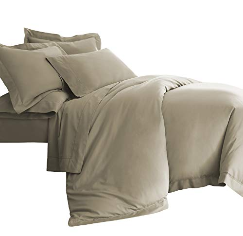 Cozy Beddings Darcy 3pc Duvet Set Hemstitch Design Eucalyptus Tencel Lyocell Cotton Tan Color King/Cal-King Size Bed