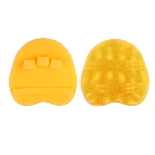 Soft Silicone Shower Brush, Body & Face & Short Hair Wash, Bath Exfoliating Skin Massage Scrubber, Dry Skin Brushing Glove Loofah, Fit for Sensitive and All Kinds of Skin (Yellow)