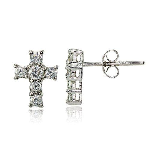 Sterling Silver Cubic Zirconia Studded Cross Earrings