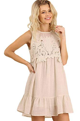 Umgee Lovey in Lace! Gauze Dress with Lace Bodice (Large, Ivory)