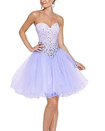 Zhongde Sparkly Sweetheart Corset Short Tulle Prom Cocktail Dress Evening Party Ball Gown For Girls Light Lavender Size 14