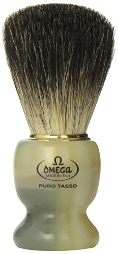 Omega 63171 Stripey 100% Pure Badger Shaving Brush with Stand