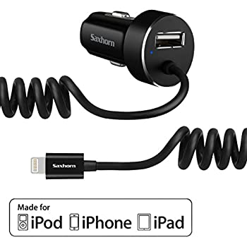 Saxhorn Apple Certified Lighting Car Charger for iPhone,iPad and iPod - Black