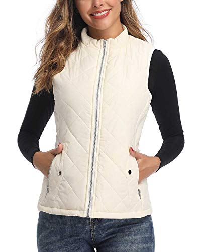Art3d Quilted Lightweight Jean Vest for Women, White - XL(Fits Like Large) (Quilted Womens Jeans)
