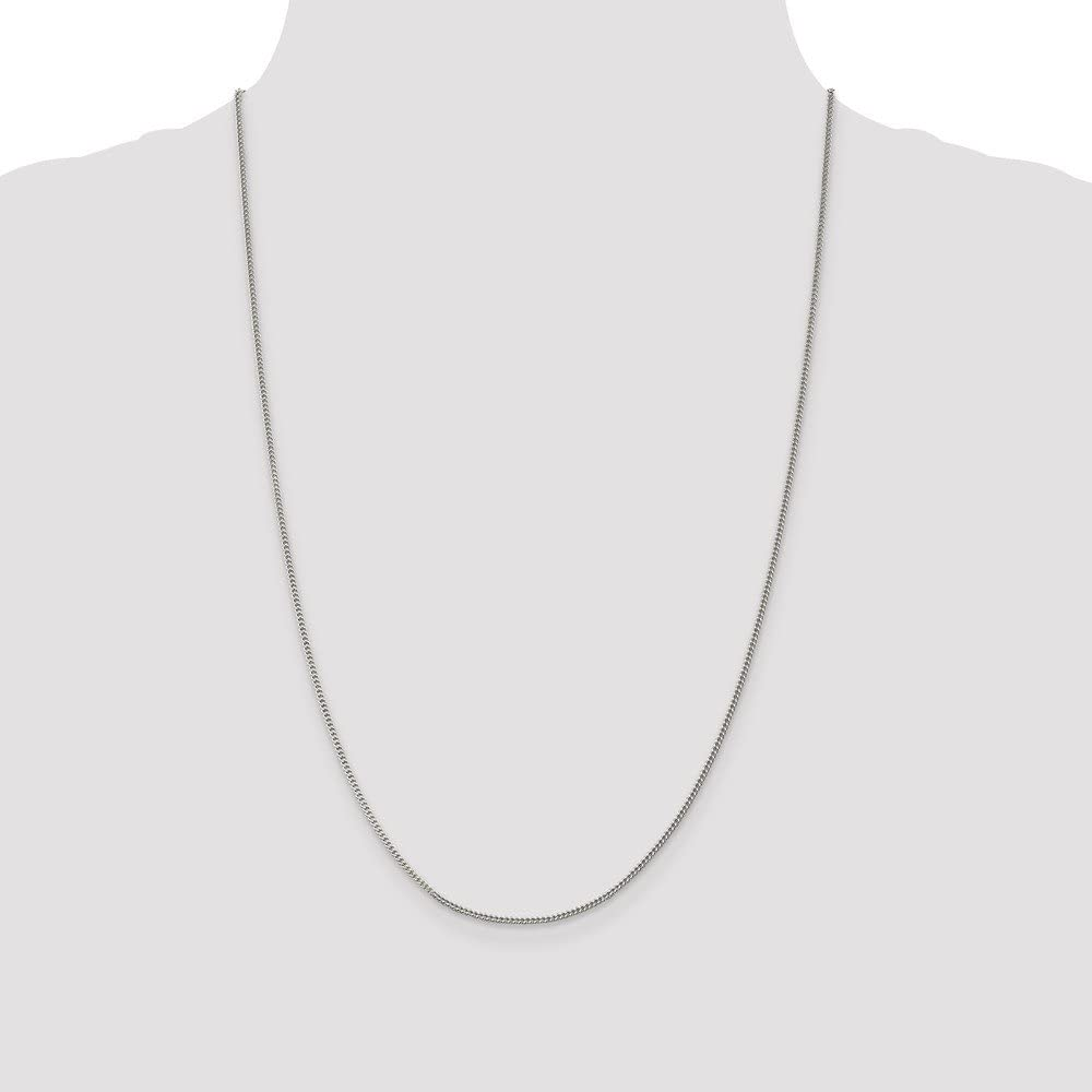 Solid 925 Sterling Silver 1.5mm Curb Cuban Chain Necklace