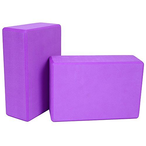 Kottle 2 Pack Yoga Blocks High Density EVA Foam Blocks Yoga Pilates Stretch Exercise Tool (Purple, 2 Pack)