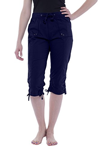 - Alki'i Women's Elastic Waist Drawstring Capri with Pockets 2134 Navy XL