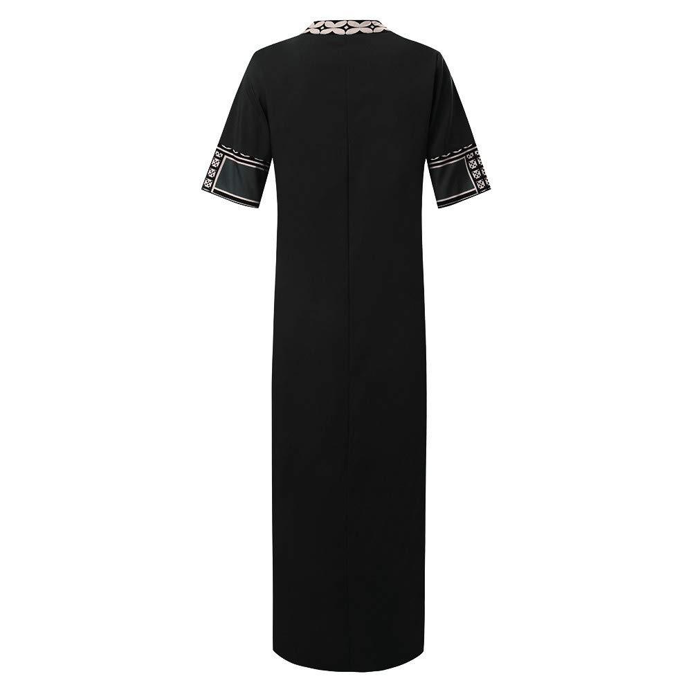 Vamoro Women/'s Printed Short Sleeve V-Neck Maxi Dress Hem Baggy Kaftan Long DressThigh Slit Dress Slit Evening Party Cocktail Long Dresses