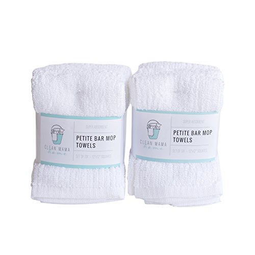 CLEAN MAMA Petite Bar Mop Cleaning Towels, White, Set of 6, 2 sets, 100% Cotton Kitchen Utility Towels - Bar Mop Cloths