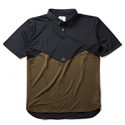 作るドレスアブストラクトSHIELDS(シールズ) フットゴルフ シャツ 半袖 TREK & TURF ドライメッシュ ポロシャツ 18-A-P01-02 ブラック/カーキ M