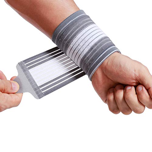 (Neotech Care Wrist Band (1 Unit) - Adjustable Compression Strap - Elastic & Breathable Fabric - Support Sleeve for Tennis, Sports, Exercise - Men, Women, Right or Left - Grey Color (Size S))