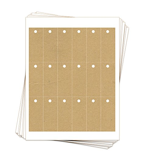 - 180 Printable Kraft Cardstock Rectangle Hang Tags with Holes, 1.25 x 3 Inches, Two-Sided Personalize and Custom Tags