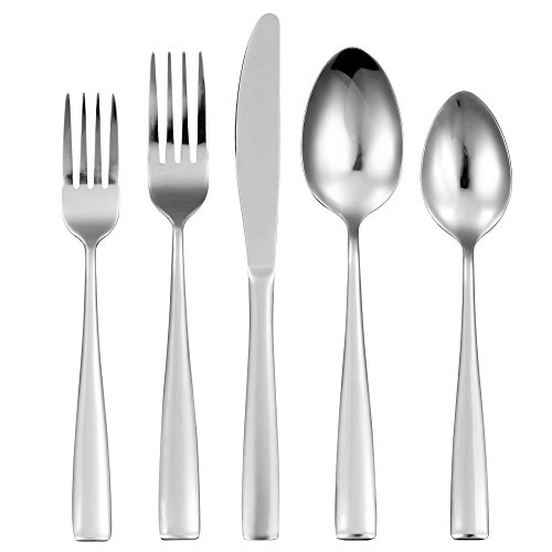 20-Piece Silverware Set Flatware Cutlery Set, 18/0 stainless steel Service for 4, Include Knife/Fork/Spoon, Mirror Polished, Dishwasher - Flatware Set Square