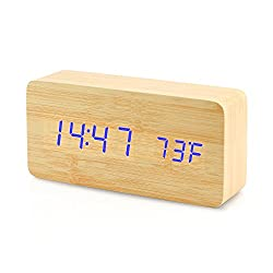 Oct17 Wooden Digital Alarm Clock, Fashion Multi-function LED Alarm Clock with Snooze and USB Power Supply, Voice Control, Timer, Thermometer - Bamboo
