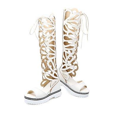 LvYuan Mujer-Tacón Cuña-Confort Innovador Zapatos del club Zapatos agujero-Sandalias-Vestido Informal-Semicuero-Negro Amarillo Rojo Blanco Yellow