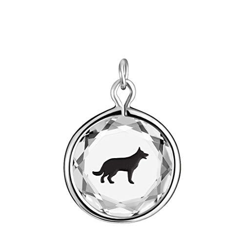 n White Swarovski Crystal with Black Enameled German Shepherd Engraving in Sterling Silver. ()
