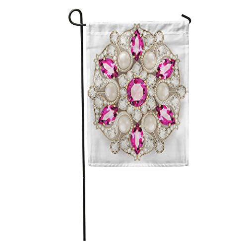- Semtomn Garden Flag Gemstone Mandala Brooch Jewelry Geometric Vintage Ornamental Applique Bead Beautiful Home Yard House Decor Barnner Outdoor Stand 28x40 Inches Flag