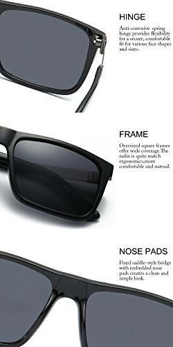 DONNA Trendy Oversized Square Aviator Sunglasses Wayfarer Style with Big Unbreakable Frame and Anti-glare Lens D54