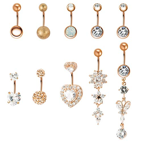 - JDXN 10PCS 14G Stainless Steel Belly Button Rings CZ Butterfly Heart Dangling Dangle Navel Ring Body Piercing (Rose Gold)