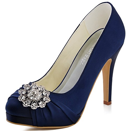 ElegantPark EP2015 Women Pumps Closed Toe Platform High Heel Buckle Satin Evening Dress Wedding Shoes Navy Blue US 11