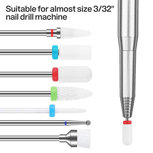 MAQUITA 7Pcs Ceramic Nail Drill Bits Set Professional Remove Gel Acrylic Cuticle Diamond Carbide Nail Drill Bit Tools for Manicure Pedicure Home Salon Use Great Gift for Women Girls
