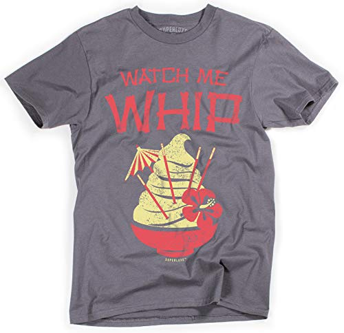 Superluxe Clothing Mens/Womens/Unisex Watch Me Whip Funny Tiki T Shirt, X-Small, Charcoal