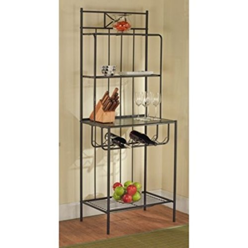 Contemporary Style 3 Shelves Black Kitchen Baker's With Wine Rack by Baker's Rack