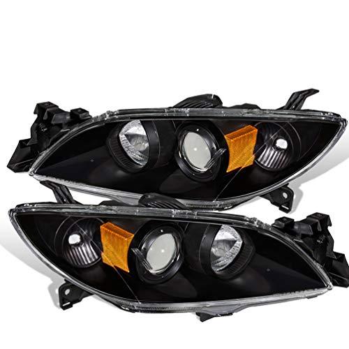 For 03-09 Mazda 3 Halo Projector Replacement Black Pair Headlights Headlamps Amber Reflector (Mazda 3 Halo Headlights)