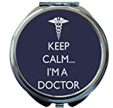 Rikki Knight Keep Calm I'm a Doctor Blue Color Design Round Compact Mirror