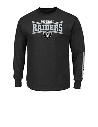 Nfl Oakland Raiders Mens Tackle Trap Long Sleeve Crew Neck Fleece Tee  X Large  Black