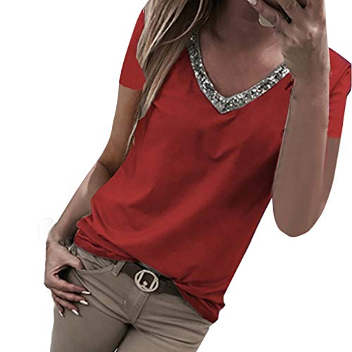 Aniywn Women V Neck Sequin T-Shirt Short Sleeve Plus Size Loose Tops Sparkle Bling Blouse Tunic Red ()