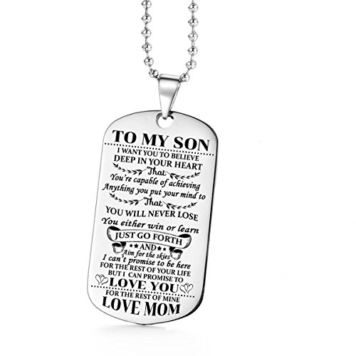 Jvvsci Dad Mom to Son Dog Tag I Want You to Believe Deep in Your Heart Inspirational Message Pendant Necklace Birthday Jewelry Gift for Boys Teen (mom to Son) (Little Boy Jewelry)
