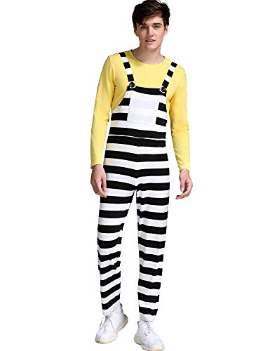 MSBASIC Men's Striped Overalls Despicable Me Minion Cosplay Halloween Costume -