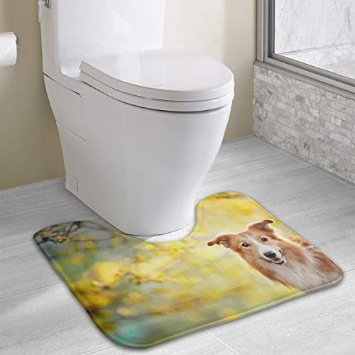 (Angeline E Topp Border Collie Dog Personalized Memory Sponge Bath Mat U-Shaped Bathroom Carpet Non-Slip Absorbent Soft Microfiber Durable)
