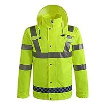GOGO Hi Viz Safety Jacket, Heavy Duty Front Zipper Reflective Hoodie, Meets ANSI Standards-Yellow-3XL