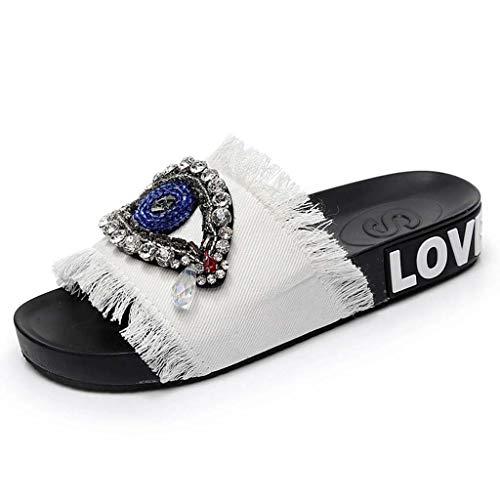 Fondo Sandali Strass Bianca Letteralmente Solido Scarpe Modelli Pantofole Di Moda 2019 Donna Ultime Estate Da Piatto Colore Sanfashion Esplosione Spiaggia SHnPqTvg