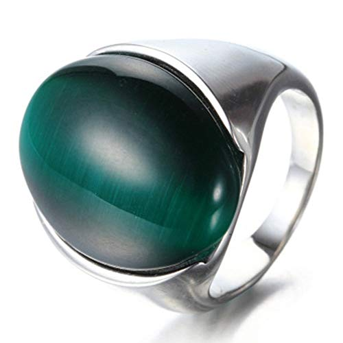 YABINI Jewelry Men's Retrol Cat's Eye Gemstone Titanium Steel Rings ()