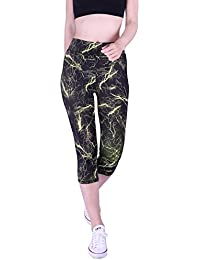 Womens Capri Yoga Pants Fitted Stretch Leggings for Workouts Running