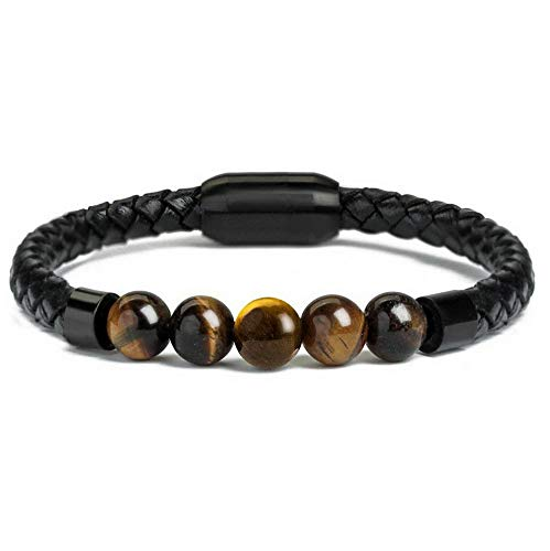 (Mikash 7 Chakra Lava Rock Healing Balancing Leather Bracelet with Magnetic Clasp Men | Model BRCLT - 9362 | 8)