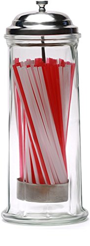 Circleware 06667 Retro Mia Old Fashioned Glass Beverage Drinking Straw Holder Dispenser Jar with Metal Lid and Red and White Holds Pencils and Chopsticks, 10.8'' H x 4.1'' W, Vintage Straw Dispenser by Circleware