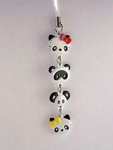 - Sanrio Hello Kitty Panda Mascot Figure Charm Strap - White Head Set