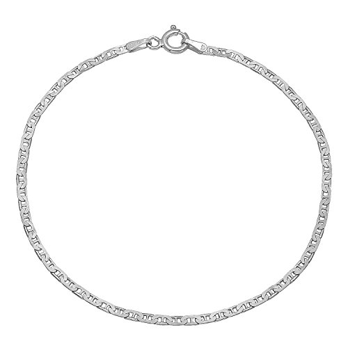 Small 1.8mm Real 925 Sterling Silver Nickel-Free Italian Mariner Chain Bracelet, 9.5 inches + Cleaning Cloth