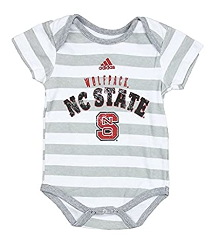 f571fb8d6f672 adidas North Carolina State University Wolfpack NCAA Unisex Baby Infant Lil  Fan 3 Piece Bodysuit Set, Red - Grey - White Grey Stripes