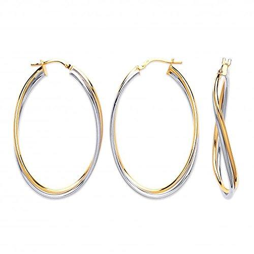 9ct 2de couleur blanc et jaune doré Grande double tube Boucles d'oreilles ovales 1.8G