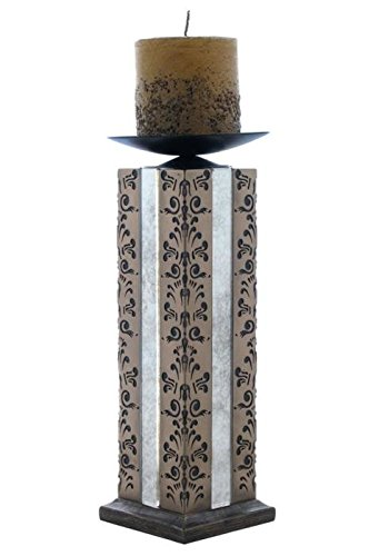 11 Inch Abbey Candle Holder Including Candle Black Filigree motif ()