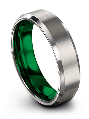 Chroma Color Collection Tungsten Carbide Wedding Band Ring 6mm for Men Women Green Interior with Grey Exterior Bevel Edge Brushed Polished Comfort Fit Anniversary Size 11 ()