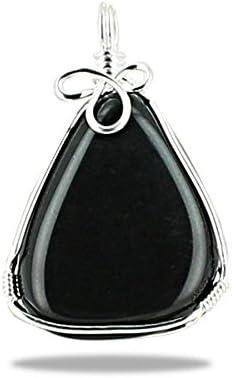 Colgante de piedra natural plana wire wrapping de plata 925, acabado volutes – Obsidiana