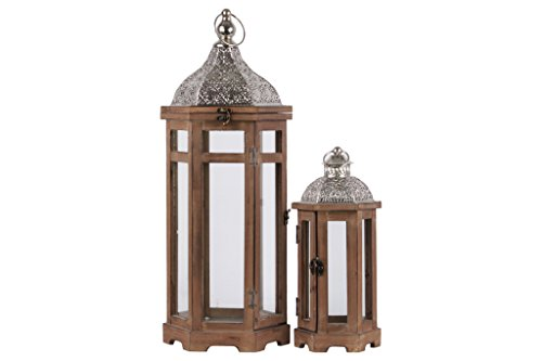 Urban Trends 26123 Hexagonal Lantern with Silver Pierced Metal Top and Ring Hanger in Natural Wood Finish (Set of 2), Brown from Urban Trends